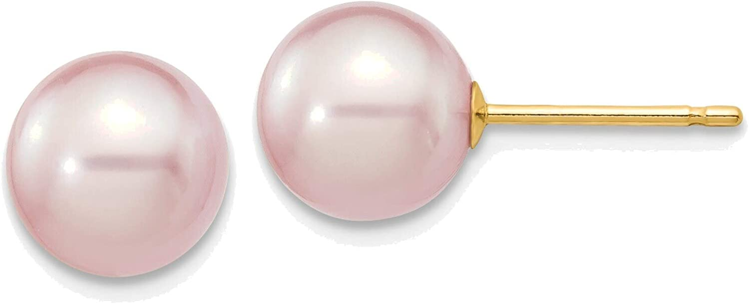 7-8mm Purple Round Freshwater Cultured Pearl Stud Post Earrings in 14K Yellow Gold