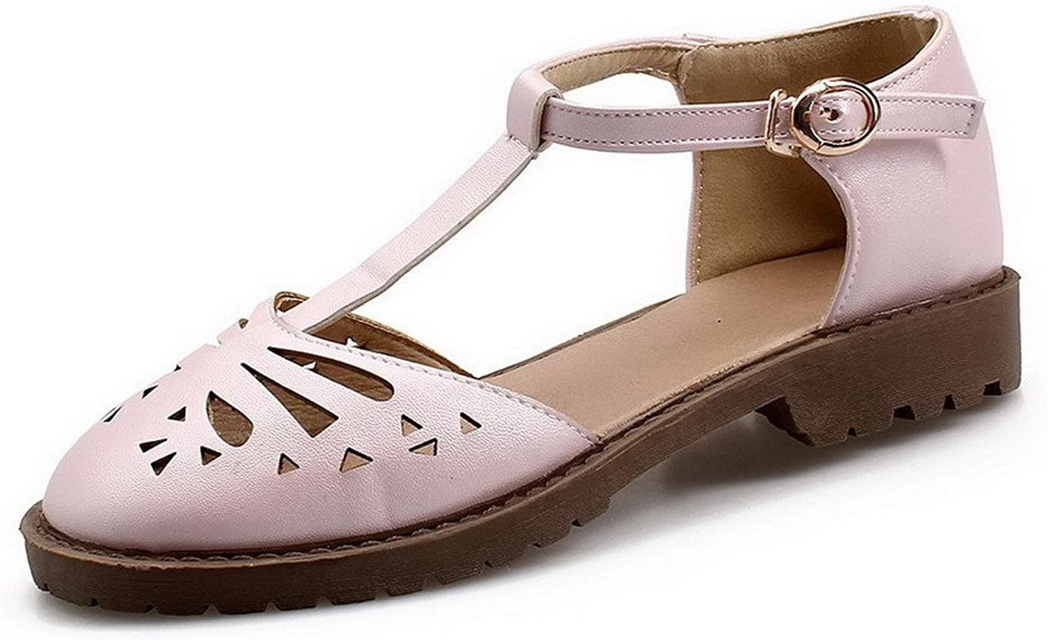 WeiPoot Women's Solid Pu Low-Heels Buckle Closed Toe Sandals, EGHLG005064