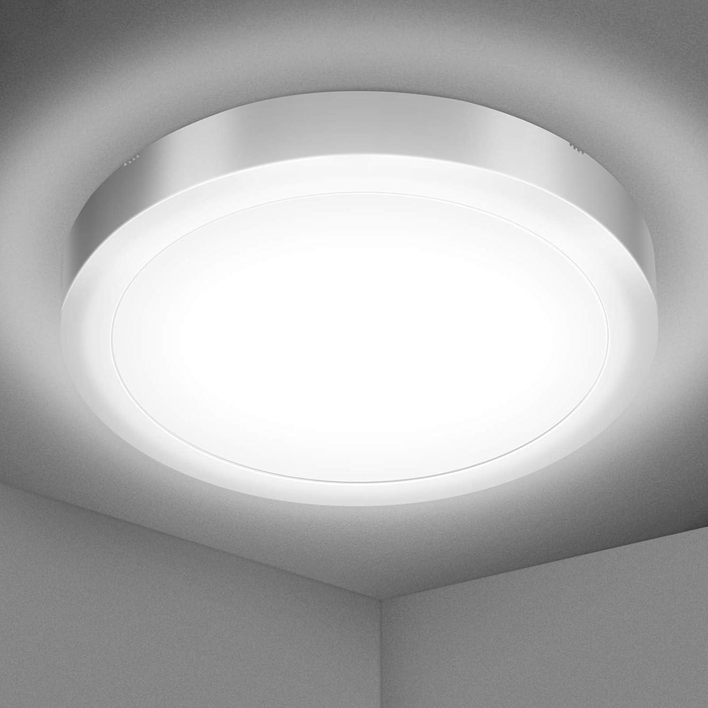 Lámparas de Techo,Plafón LED Techo Baño 18W Blanca Natural 5000K Equivalente 120W 1700LM Impermeable IP54 Ø22cm Ultrafino Luz de Techo Led Moderna para Cocina Dormitorio Salón Pasillo