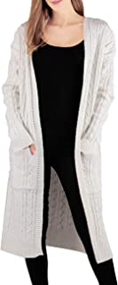 Women's Casual Open Front Long Sleeve Cardigan Chunky Cable Knit Sweater Coat Outwear with Pockets