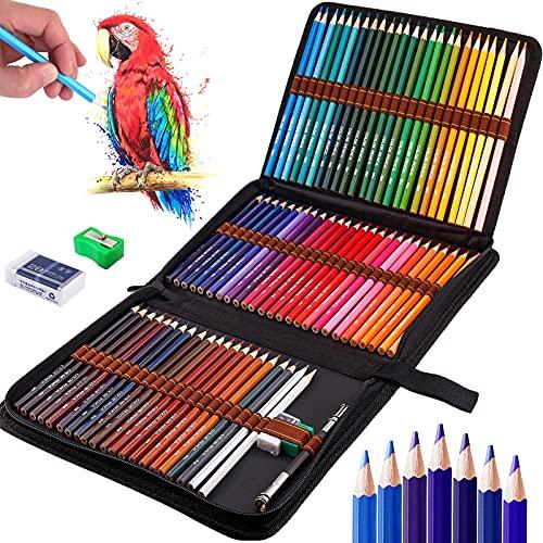 Frasheng Lapices Colores Profesional,Juego de 72 Lápices de Colores,Incluye lápices para colorear,Caja de Cremallera Portátil,Borrador, prolongador de lápiz y sacapuntas,para Artistas,Adultos y Niños