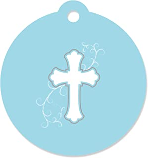Little Miracle Boy Blue & Gray Cross - Baptism Party Favor Gift Tags (Set of 20)