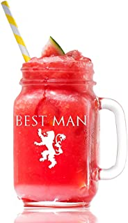 Lannister Best Man Game Of Thrones Inspired Gift 15 Mason Jar Glass, Groomsmen Beer Glass Gift, Best Man Gift, Bridal Party Gift, Groom Beer Glass.- 4 PC SET