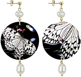 in Lebole Collezione The Circle DOR62 Farfalla Orecchini da Donna in Ottone Pietra Perla