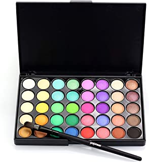 40 Color Eyeshadow Palette Matte Eyeshadow Diamond Shimmer Eye Primer Luminous Eye Shadow Women Gift Smoky/Warm Color 02 with brush