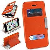MoEx Bolso OneFlow para Funda iPhone 5C Cubierta con Ventana | Estuche Flip Case Funda móvil Plegable | Bolso móvil Funda Protectora Accesorios móvil protección paragolpes en Canyon-Orange
