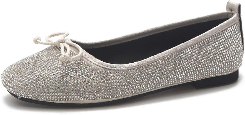 Owen Moll Women Flats, Solid Square Toe Bling Glitter Slip-On Ballet Dress shoes