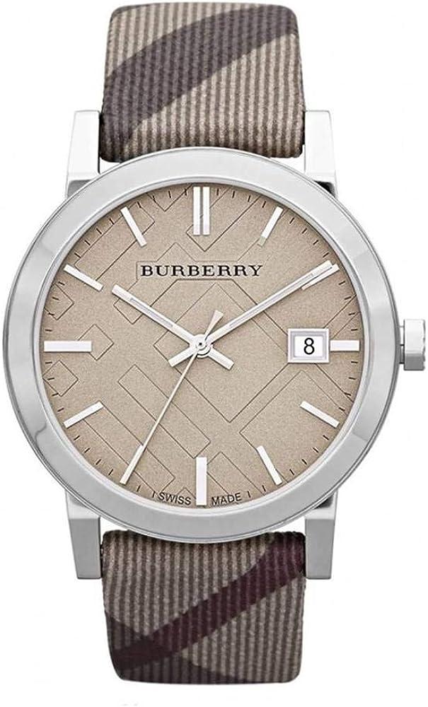 Burberry heritage, orologio per donna, cinturino in  nylon,e cassa in acciaio satinato BU9023