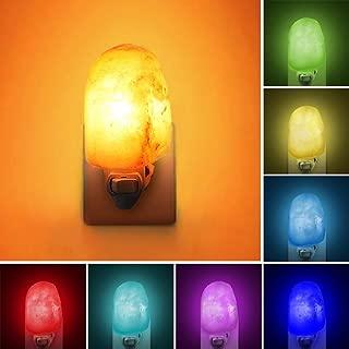 Natural Himalayan Salt Lamp, Waynewon Plug in Hand Carved Crystal Night Light – Best Living Room, Bathroom, Hallway Light [2 Bulbs]