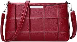 LHKFNU Women Plaid Messenger Bags PU Leather Shoulder Bags Women Crossbody Bag Ladies Handbags