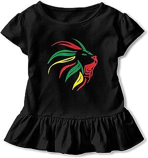 ZHIYANG Lion Rasta Baby Girls Short Sleeve Dress 100% Cotton Ruffled Hem Dress Dress Flounce