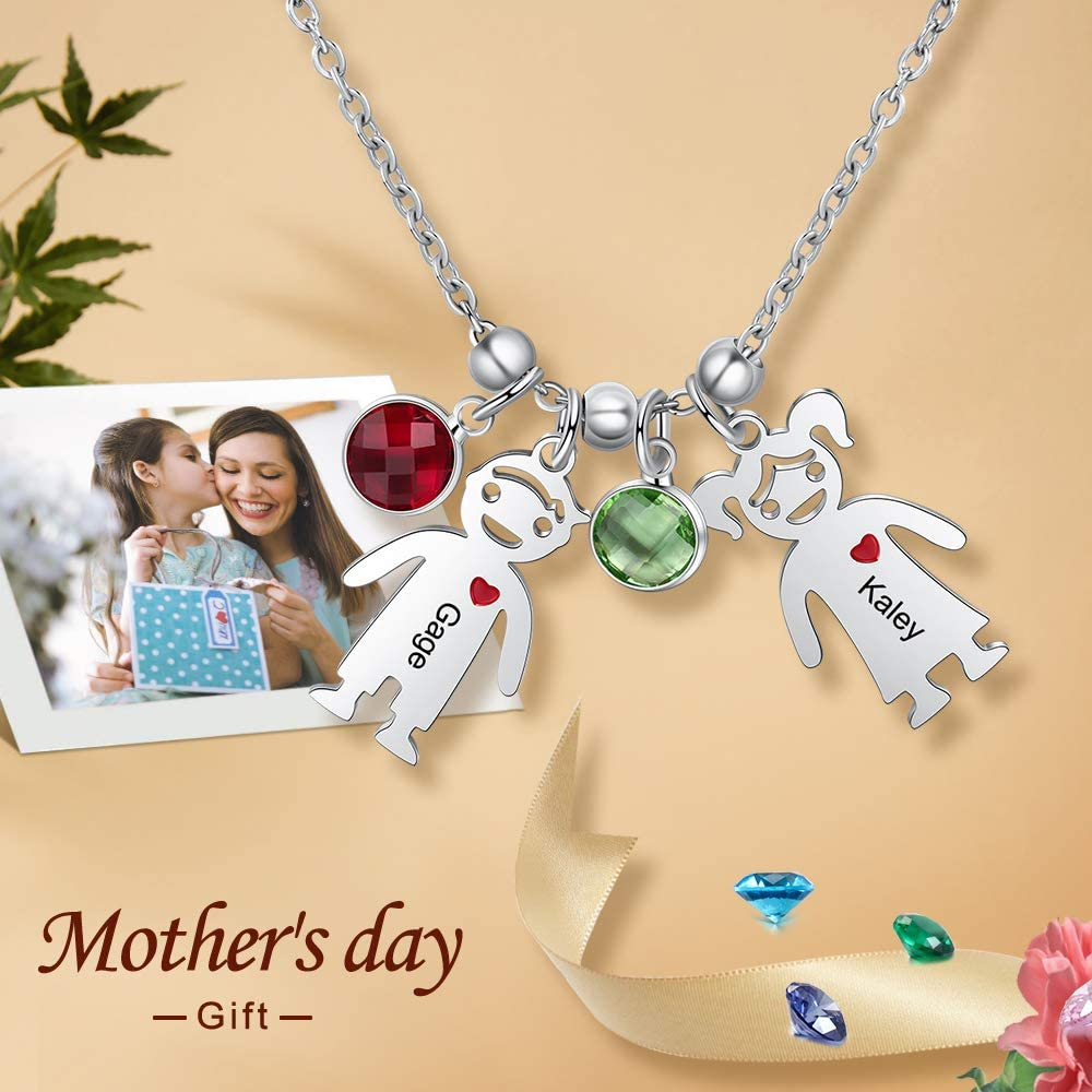 Ashleymade Personalized Children Charms Mothers Necklace with Simulated Birthstones Engraved Boy and Girl Charm Jewelry Infinity Mom Necklace for Women Mother Day