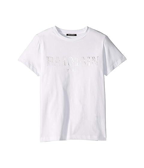 Balmain Kids Short Sleeve Institutional Logo Tee (Big Kids)