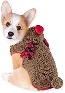 Friends Forever Christmas Holiday Reindeer Pet Dog Puppy Costume Outfit Padded Hooded Warm Coat with 3D Detailing