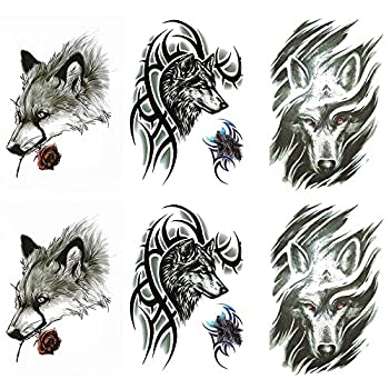 Yesallwas 6 Sheets Large fake wolf tattoos for men women tribal wolf tattoo temporary waterproof long lasting tattoos stickers for Arm Shoulders Chest & Back Make Up- Biker Tattoos 5.9x8.26inches