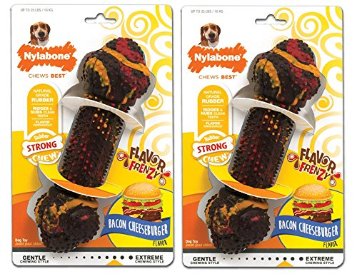 (2 Pack) Nylabone Flavor Frenzy Bacon Cheeseburger Flavored Dog Chew Toy, for Dogs up to 35 Pounds