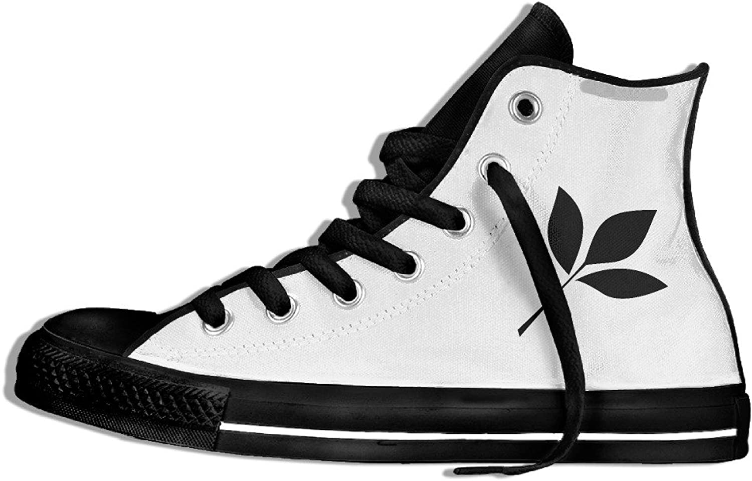 Efbj Black Leaves Unisex Comfortable High Top Canvas shoes Sneakers for Men and Women