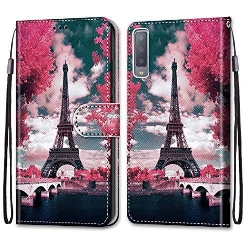 Nadoli Bunt Leder Hülle für Samsung Galaxy A7 2018,Cool Lustig Tier Blumen Schmetterling Entwurf Magnetverschluss Lanyard Flip Cover Brieftasche Schutzhülle mit Kartenfächern