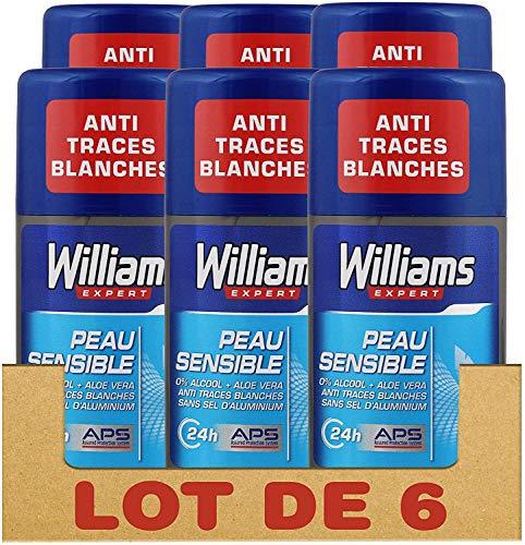 Williams Expert Déodorant Homme Stick Antibactérien, Protection 24h, Anti-Traces Blanches et Anti-Odeurs Formule Testée Dermatologiquement, pour les Peaux Sensibles (Lot de 6x75ml)