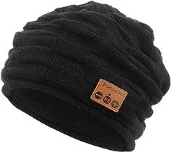 Bluetooth Beanie Hat Winter Knit Music Hat Wireless Headphone Speaker Hat Slouchy Skull Cap for Men Women, 14 Black