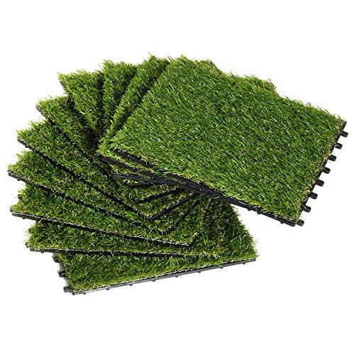 Outsunny Césped Artificial con Altura de Hierba 25mm Tipo Alfombra o Estera de Hierba Sintética de Exterior para Jardín y Terraza 30x30x3,5cm (Modelo 1: 10 Piezas)