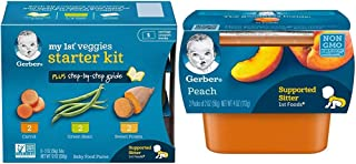Sponsored Ad - Gerber Purees My 1st Vegetables, Box of 6 2 Ounce Tubs (Pack of 2) & 1st Foods, Peach Pureed Baby Food, 2 O...