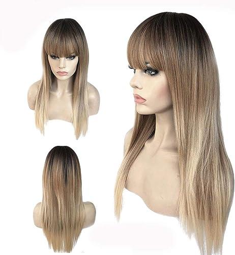 Haarteile Perücke, Frauen-Goldgrau-Steigung-Qualitäts-langes Gerades Haar-hitzeBeste ige Synthetische Cosplay Partei Perücke (Farbe   Gold)