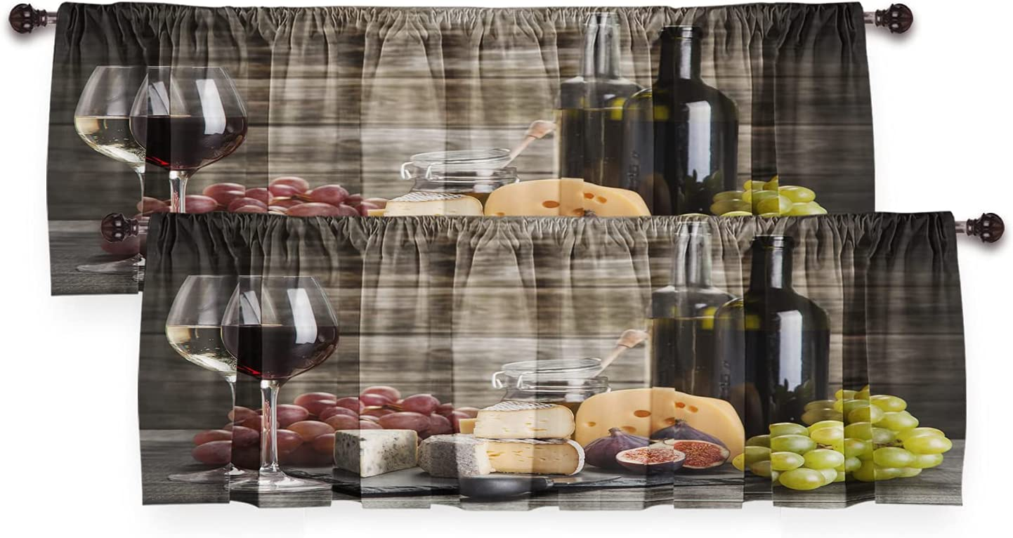 DUISE Window Valance Wine Cabernet Bottle Cheese Popular brand and G Glass Limited price sale
