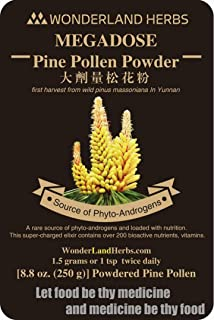 99.5% Shell Broken [Cracked Cell Wall] Pine Pollen Powder 8.8 oz. (250 g.) Certified Organic raw and Wild