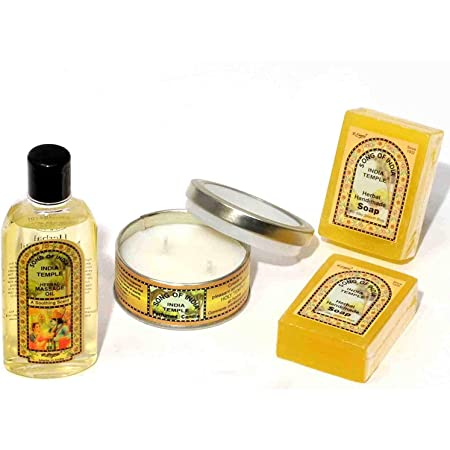 Song of India - India Temple Gift Set #1, Herbal Massage Oil, Perfumed Candle, Herbal Handmade Soap Bars
