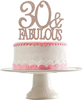 Rose Gold Glittery 30 & Fabulous Cake Topper for 30th Birthday Party Decorations,Birthday Cake Topper Decor