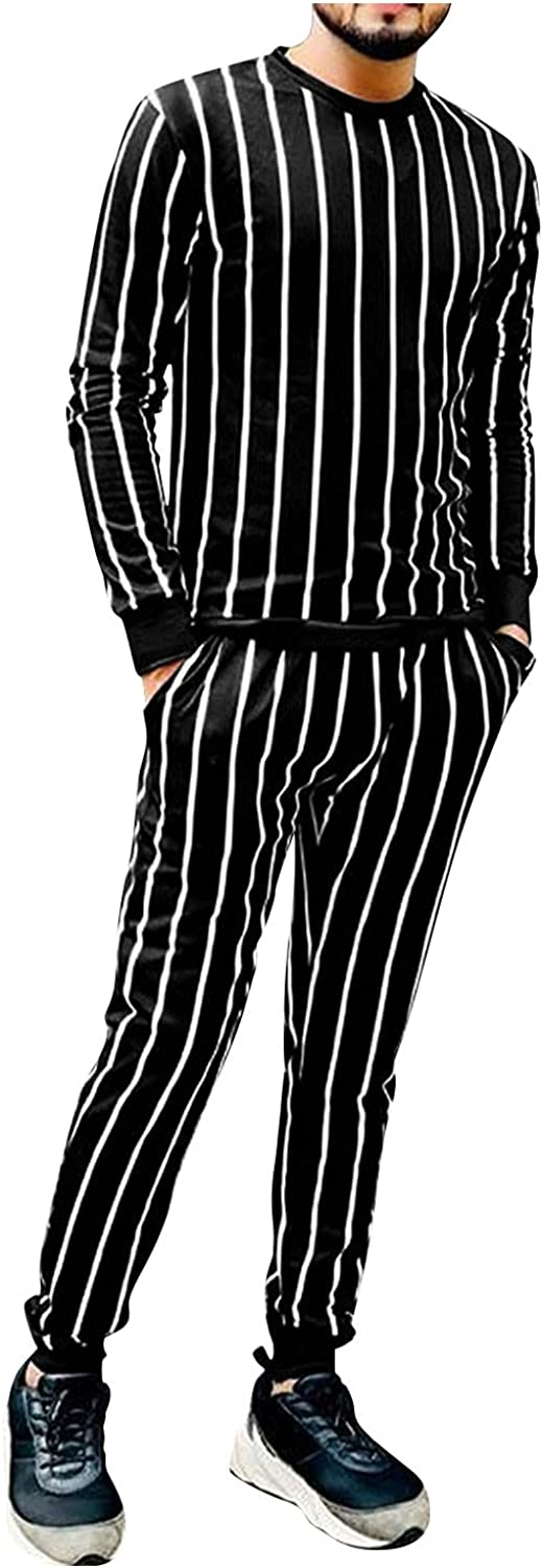 FORUU Jogger Suit For Men 2 Piece Outfits Striped Printed Tracksuit Set Pocket Long Sleeve Pullover & Sweatpant Sets