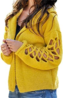 Macondoo Women's Fashion Coat Knitted Sweater Hoodie Hollow Out Cardigans