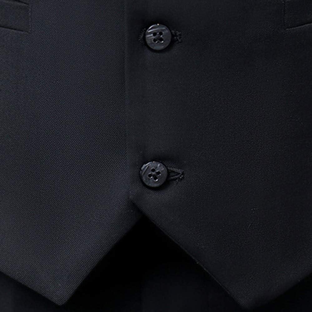 Bmeigo Chaleco Hombre Traje Ajustado Top de Traje de Boda Chaleco con Cuello en V Traje de Chaleco Informal de Negocios Solo Pecho