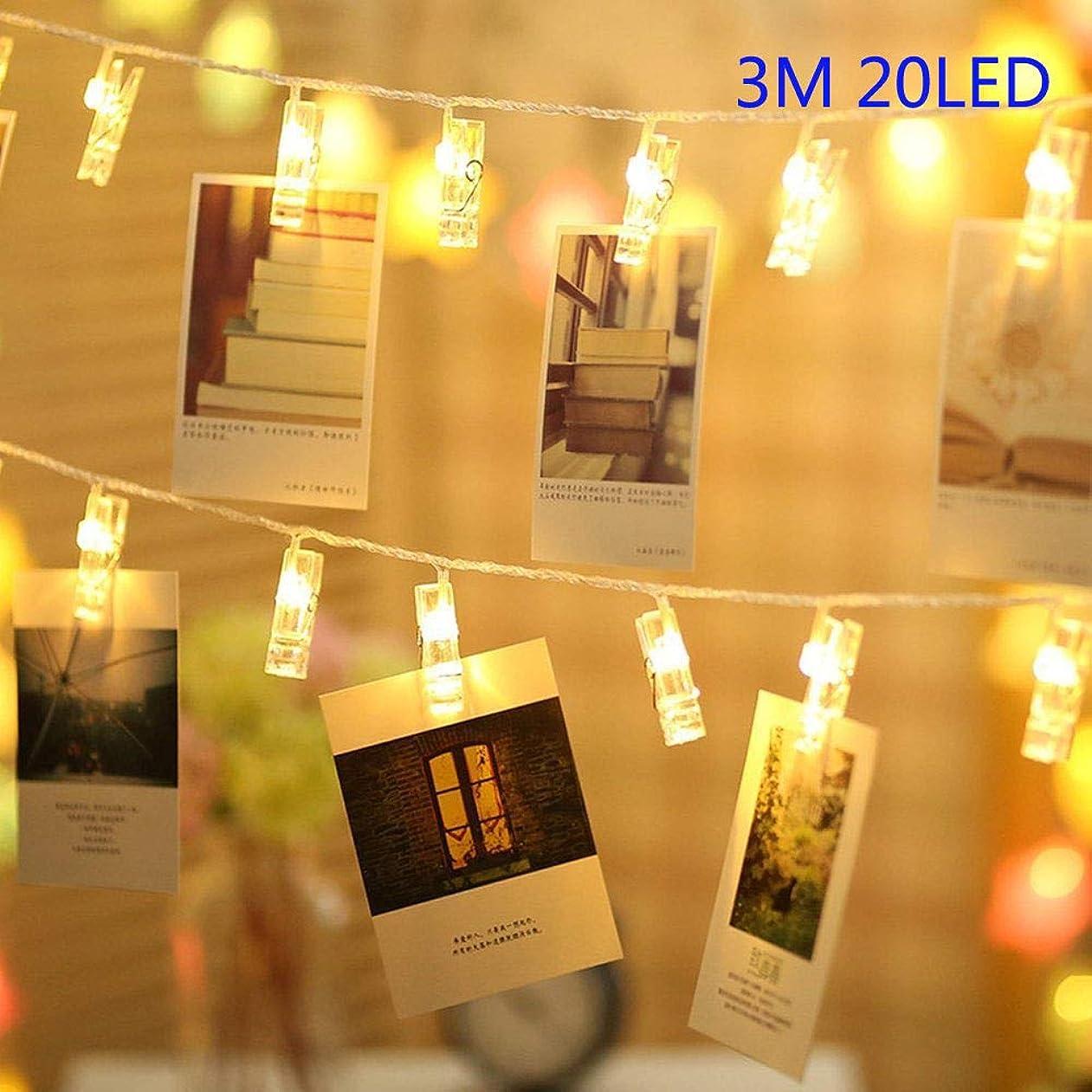信頼チェスをする難破船AULNPAI LEDストリングライト3M 20LEDs 写真/絵/フォトクリップストリングライト/DIY吊り下げる飾り 電池駆動式 クリスマス/新年/結婚式/誕生日/パーティー/マザーズデー/記念日 (ウォームホワイト)