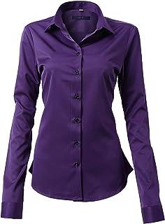 FLY HAWK Camicia Basic da Donna Manica Lunga - Camicetta Casual Blusa Chiusura Bottoni Slim Fit Formale Elegante in Fibra ...