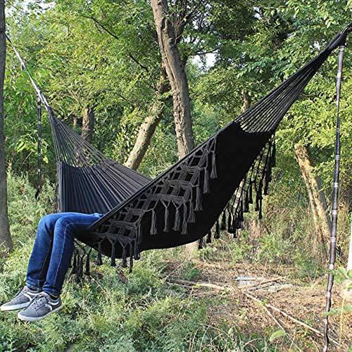 Hangmat Macrame Fringe 2 persoons tweepersoons Deluxe hangmat Swing Net Chair indoor hangstoel hangmatschommels, zwart