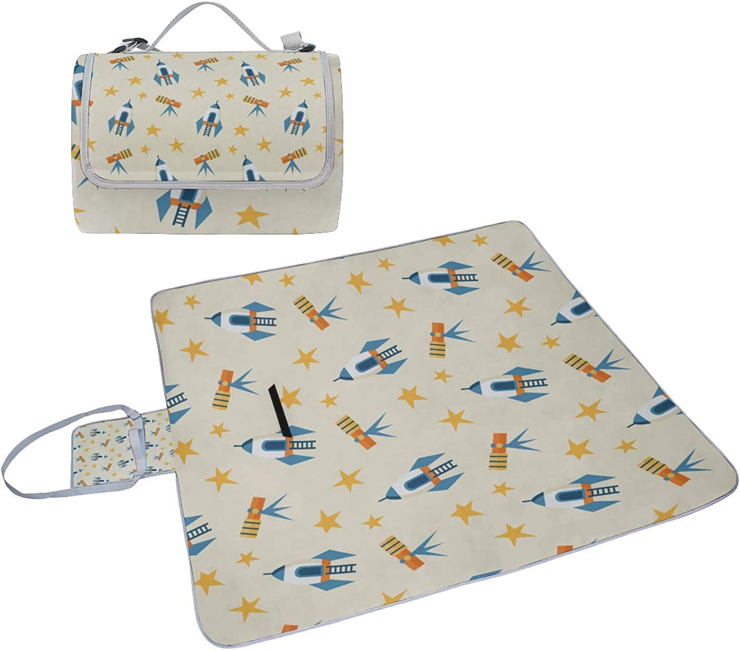 Family Picnic Blanket Handy Tote Telescope Astronomy Starry Sky Art Single Side Printing Foldable Sandproof Waterproof Camping Mat for Outdoor Beach Hiking Grass Travel Outings