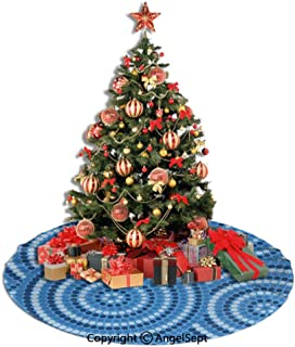 SfeatrutMAT Christmas Tree Skirt,Navy Blue Decor,Abstract Aboriginal Ethnic Indigenous Australian Mosaic Style Dots Boho Art,Dark Blue,48inches,Xmas Tree Decorations for Holiday Party