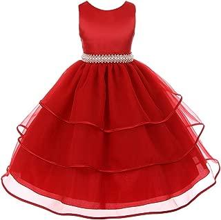 Fabulous Satin Organza Dress with Pearls Rhinestones Waistline Flower Girl Dress