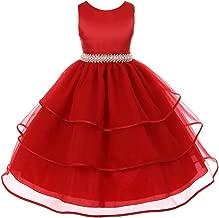 CrunchyCucumber Fabulous Satin Organza Dress with Pearls Rhinestones Waistline Flower Girl Dress