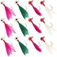XFISHMAN Crappie Jigs Fishing Lure Marabou Hair Feather Jig Heads 1/16 1/32oz for Perch Panfish Sunfish Bluegill Trout Walleye Crappie Jigs Lure Kit