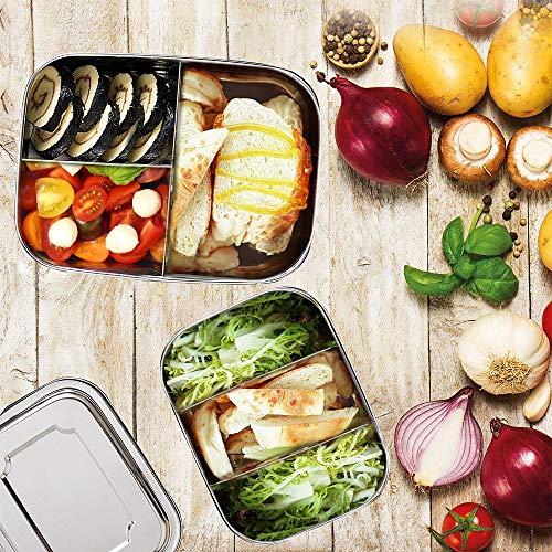 Edelstahl Brotdose | Auslaufsichere Bento-Box für Erwachsene und Kinder | Lunch-Box aus Metall mit entfernbaren Trennwänden | Umweltfreundlich und BPA-frei | Brotzeit-Dose mit Deckel | 800 ML