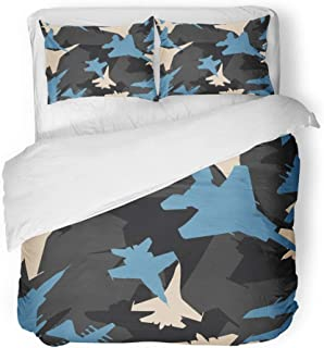 Emvency Bedding Duvet Cover Set Full/Queen Size (1 Duvet Cover + 2 Pillowcase) Black Blue and White Military Jet Fighters Aircraft Silhouettes Camouflage Pattern Hotel Quality Wrinkle