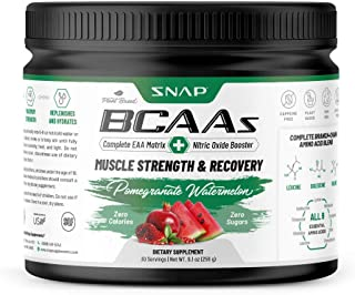 Snap Supplements BCAA Powder with Nitric Oxide Booster - Pomegranate Watermelon Essential Amino Acids - Muscle Strength & ...
