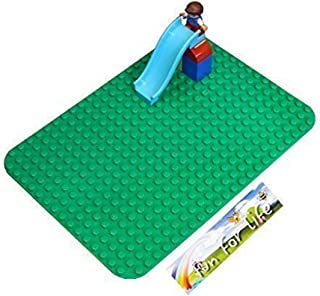 Enlighten 2-Pack Light Green 10x10 Classic Briks Baseplate Compatible with Duplo Building Block Plate 16x16 Big Dots