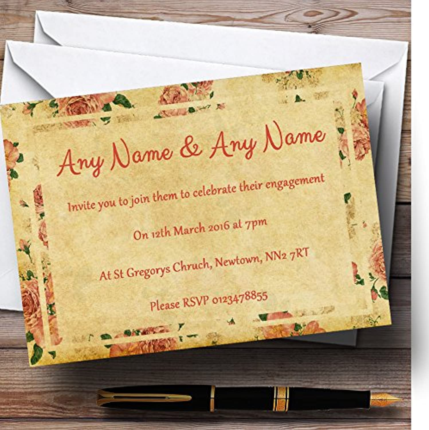 Vintage Pink pinks Postcard Style Personalised Engagement Party Invitations   Invites & Envelopes
