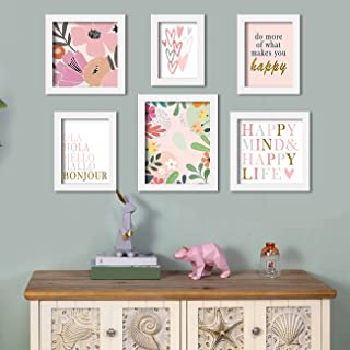 Happy Mind - Set of 6 Art Print Happiness Theme Painting for Home Decoration Size-5x7 , 6x8 , 8x8 , 8x10 Inches