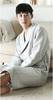 ZLR 秋と冬新しいカップルパジャマミドルロングセクション男性と女性純粋なコットン長袖暖かい家の服バスローブ ( サイズ さいず : B-XL )