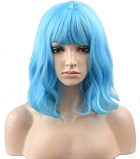 BERON 14'' Short Curly Women Girl's Charming Synthetic Wig with Bangs Wig Cap Included (Sky Blue)